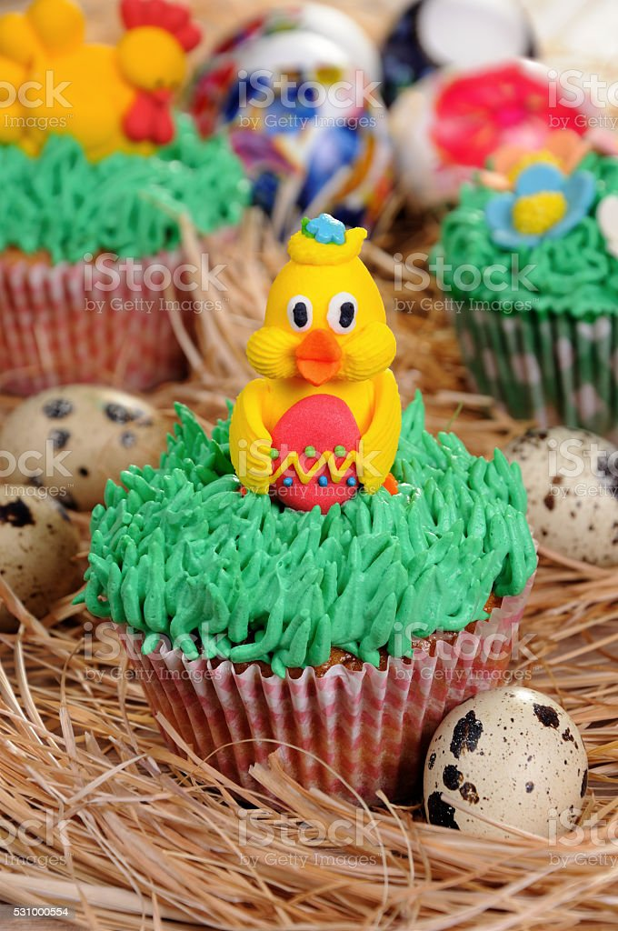 Easter muffin stock photo