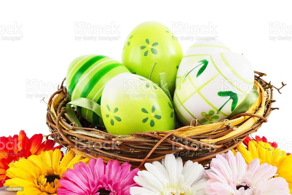 Easter Nest eggs stock photo