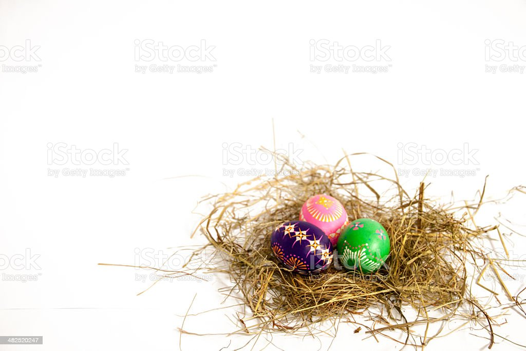 Easter nest of straw stock photo