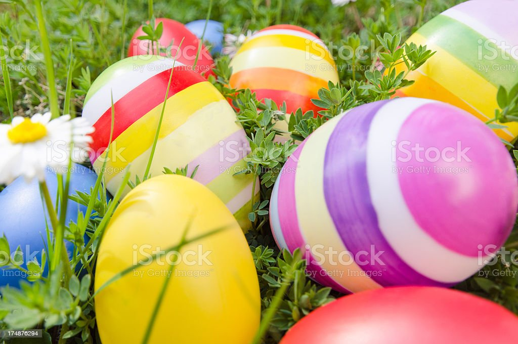 Easter painted eggs with flower royalty-free stock photo