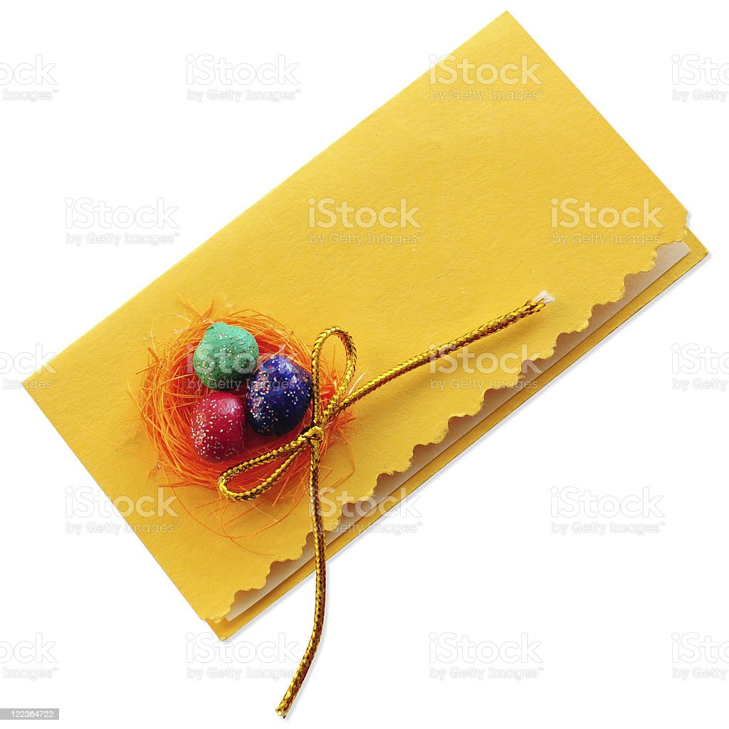 Easter Paper Card gift with next eggs royalty-free stock photo