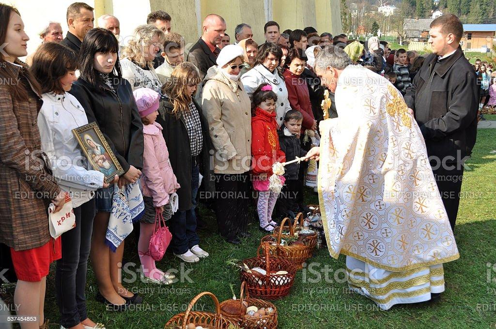 Easter, parishioners of the Orthodox Church stock photo