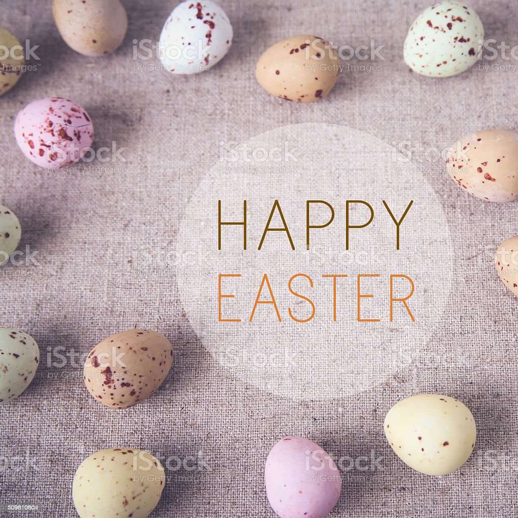 Easter pastel speckled eggs, selective copyspace background, ton stock photo