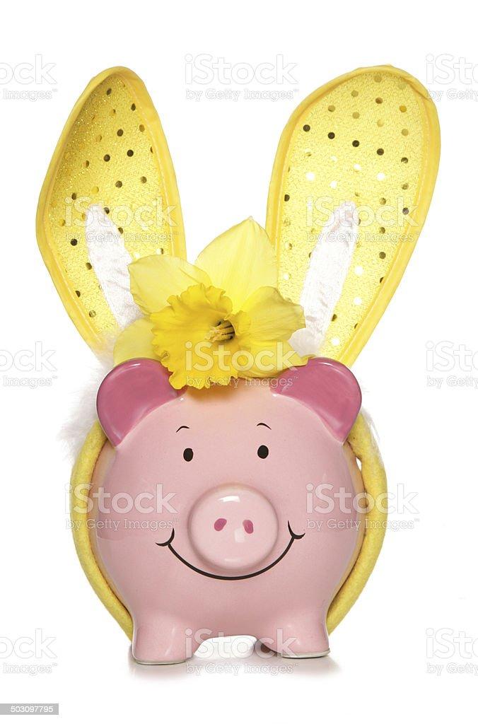 Easter piggy bank cutout stock photo