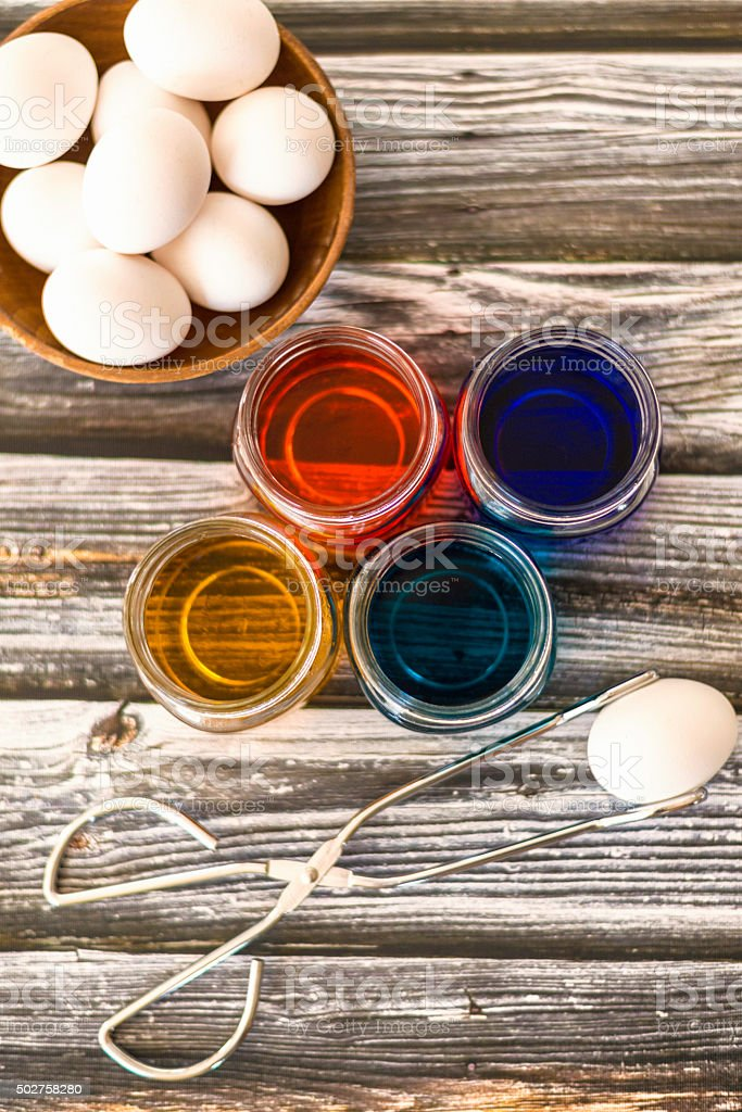 Easter preparations, preparing to hand color eggs for Easter stock photo
