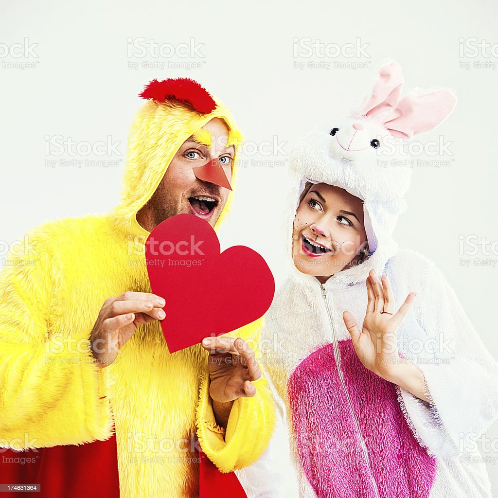 Easter rabbit and chicken in love stock photo