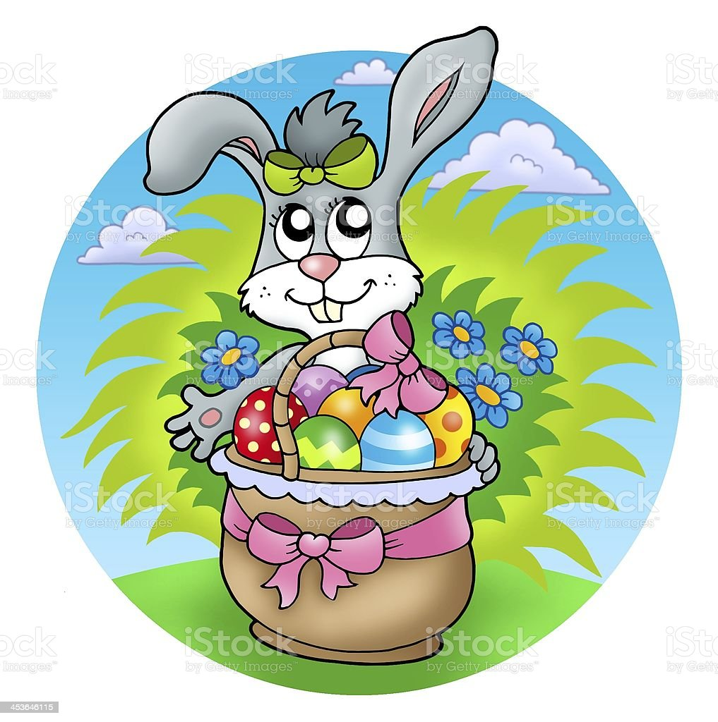 Easter rabbit with decorated eggs royalty-free stock photo