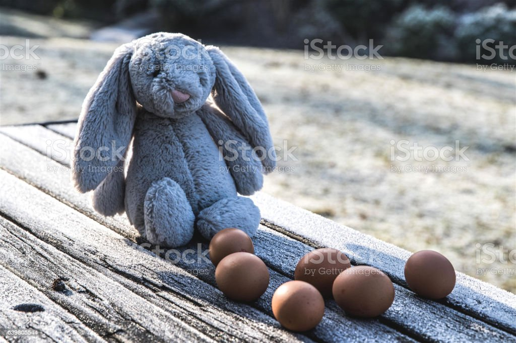Easter rabbit with eggs stock photo