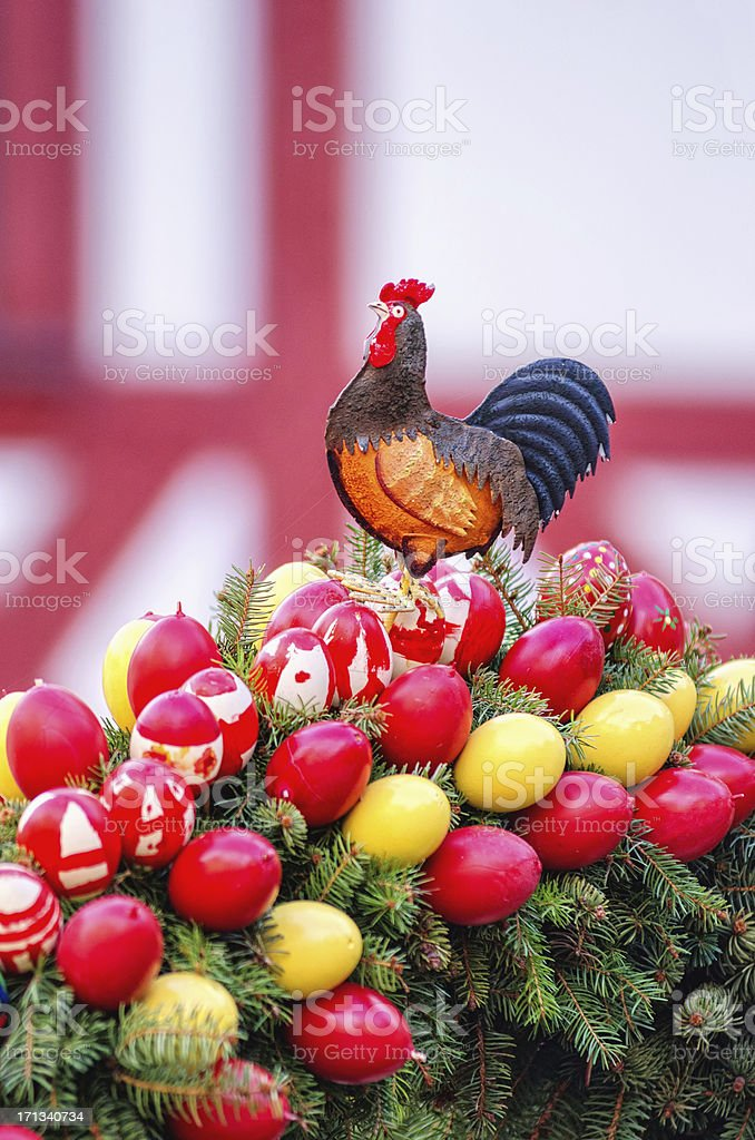 Easter rooster and eggs royalty-free stock photo