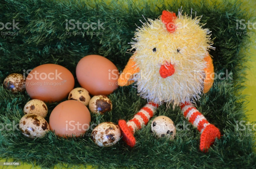Easter scene with chick  and eggs in the spring meadow. stock photo