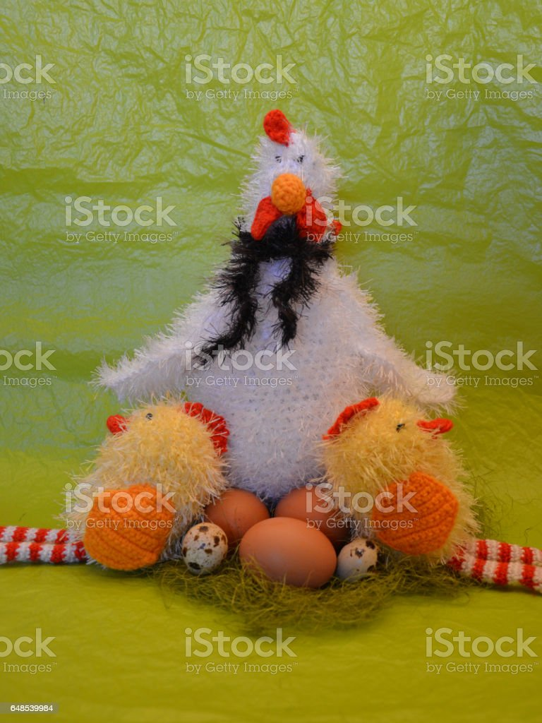 Easter scene with chicken with eggs and  chick stock photo