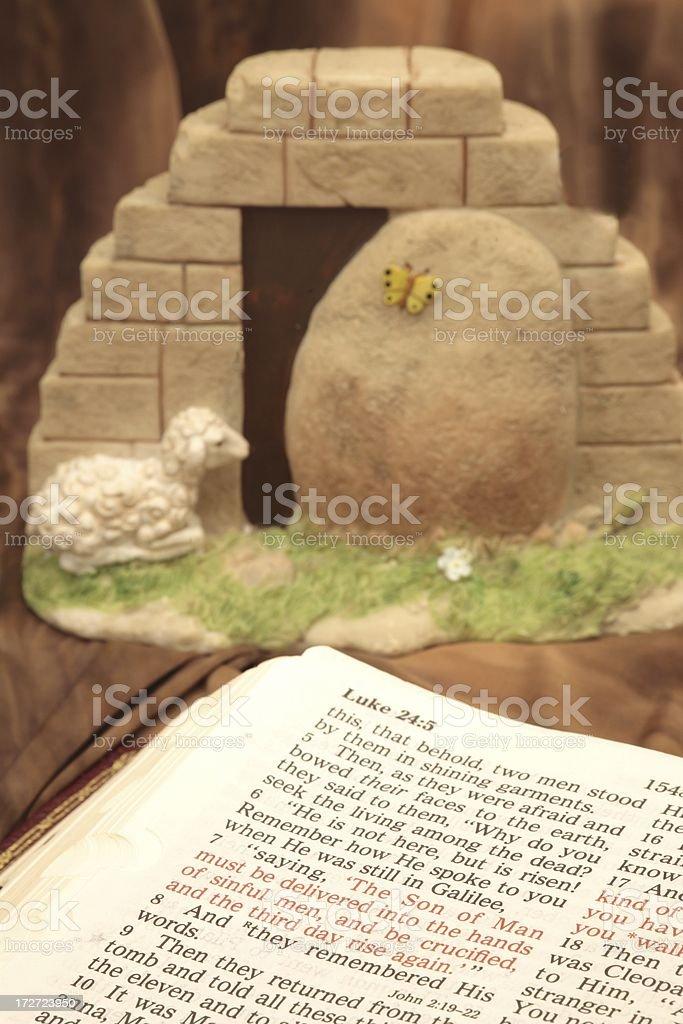 Easter Scripture from Luke stock photo