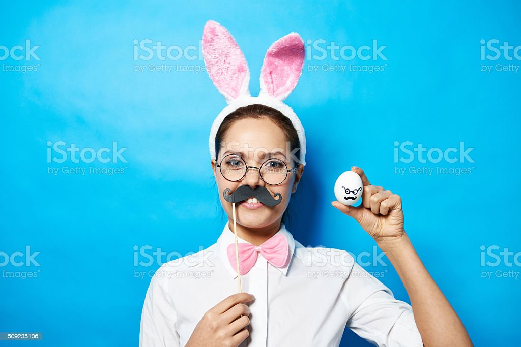 Easter self portrait stock photo