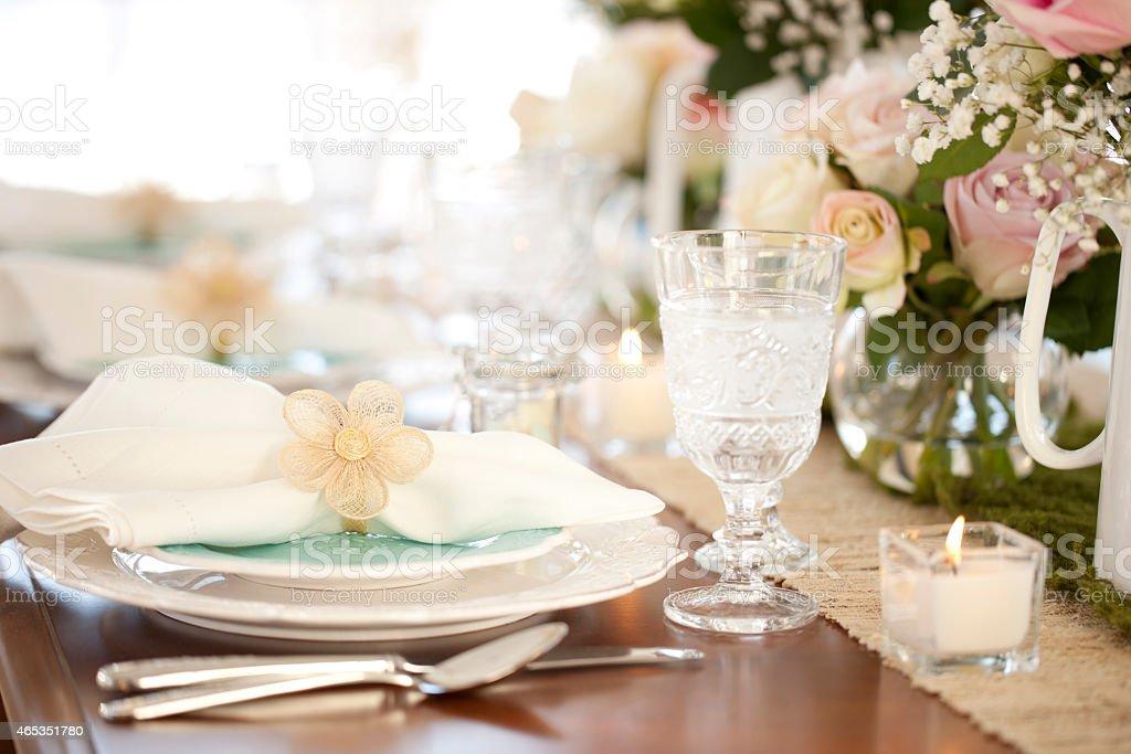 Easter spring elegant dining table stock photo
