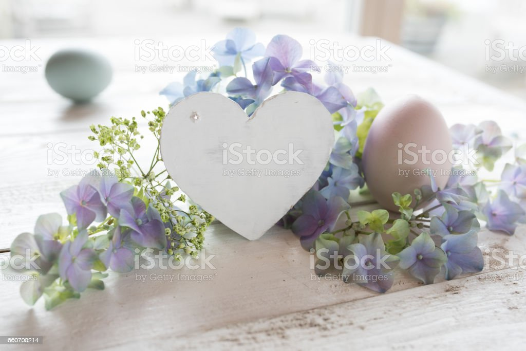 Easter still life in vintage style stock photo