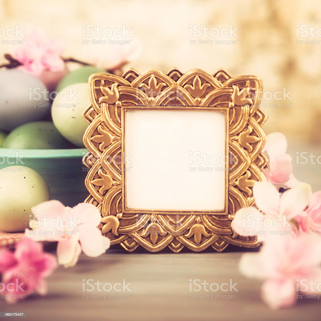 Easter Still Life with Blank Picture Frame royalty-free stock photo