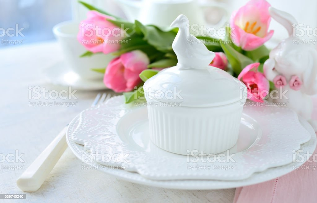Easter table serving stock photo