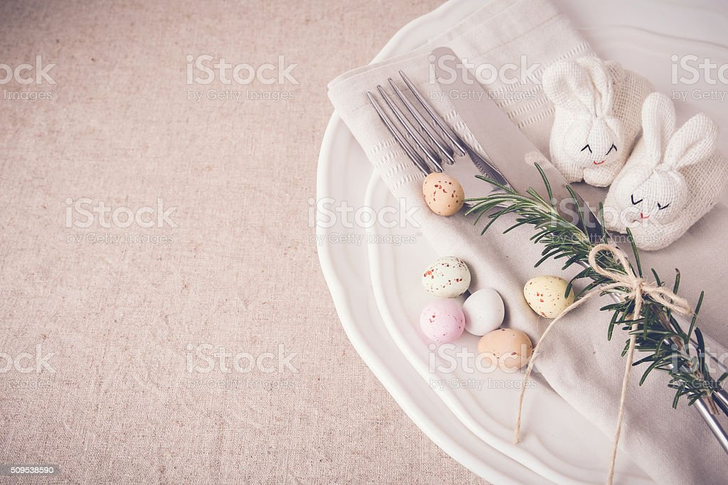 Easter table setting copyspace background, selective focus, toni stock photo