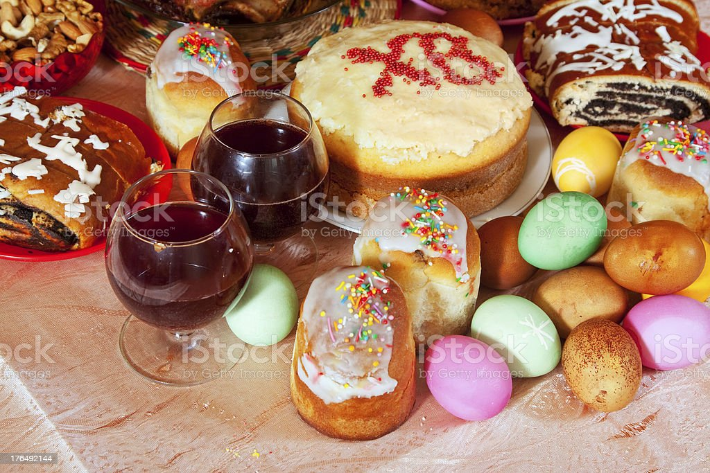 Easter table with celebrate cakes royalty-free stock photo