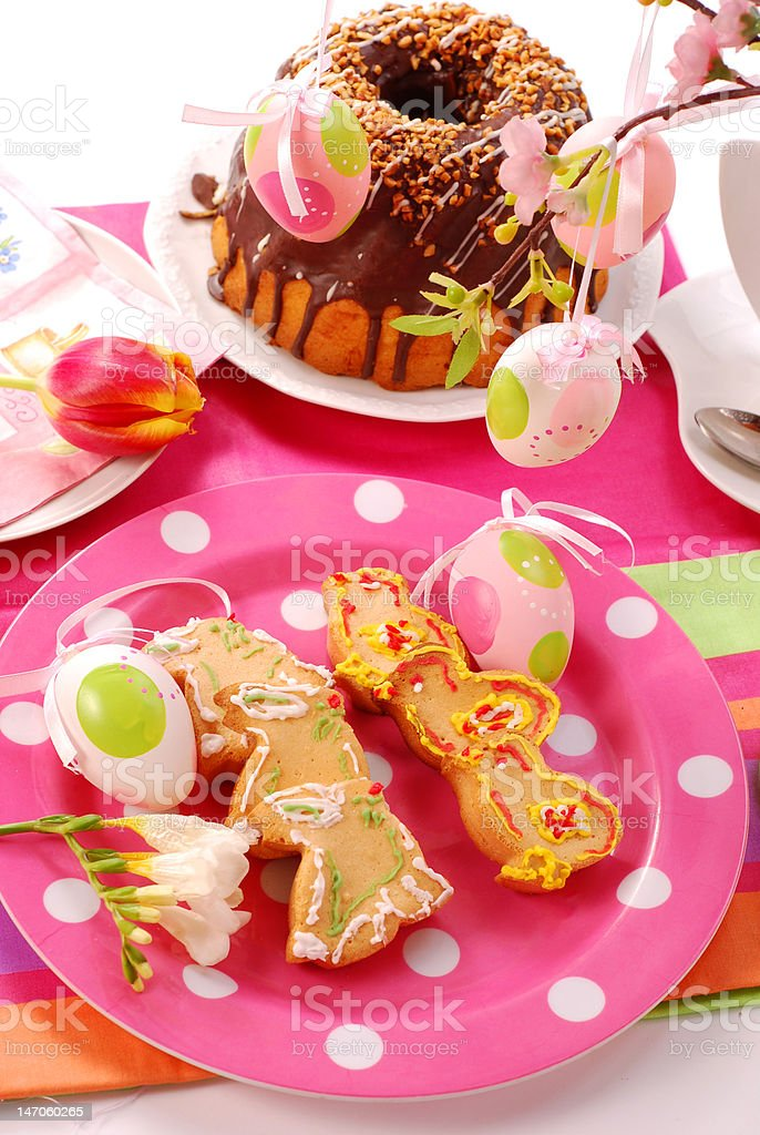 easter table with cookies and ring cake royalty-free stock photo