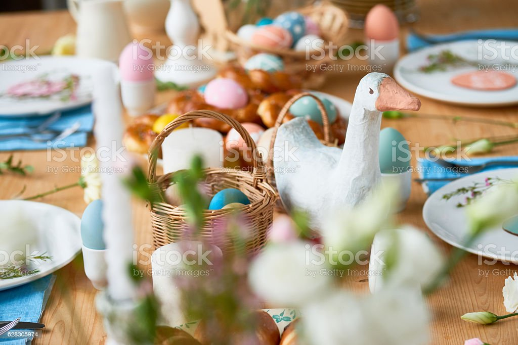 Easter table with lovely decorations stock photo
