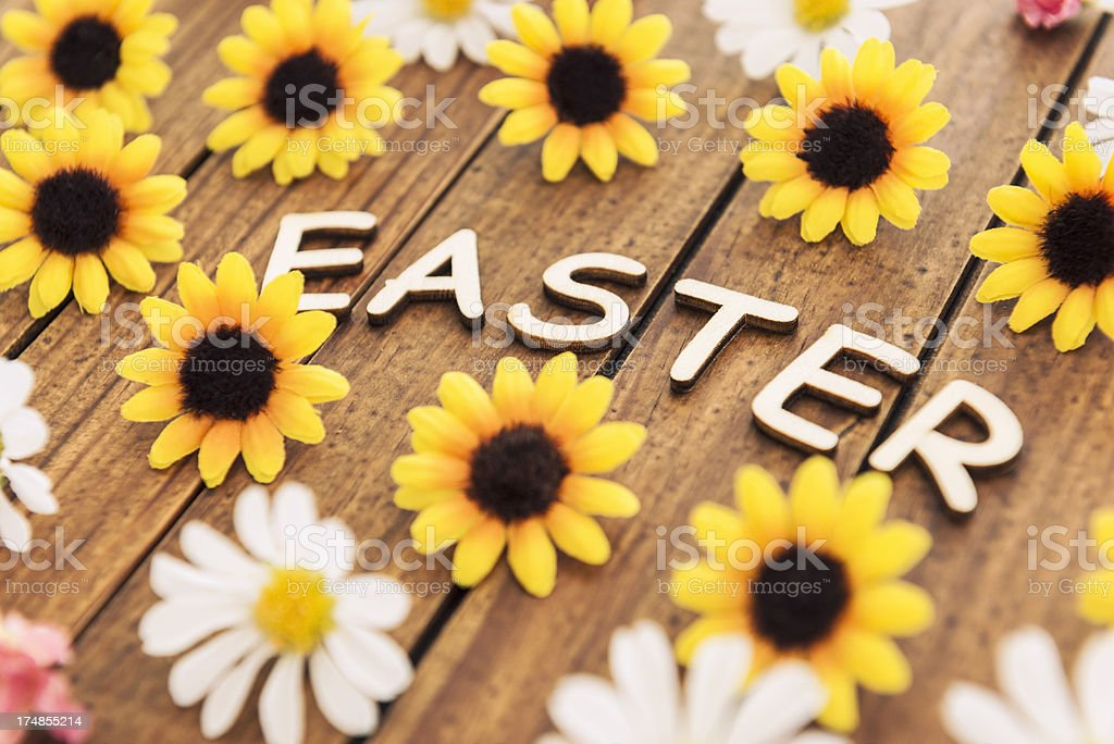 Easter text composition with flower royalty-free stock photo