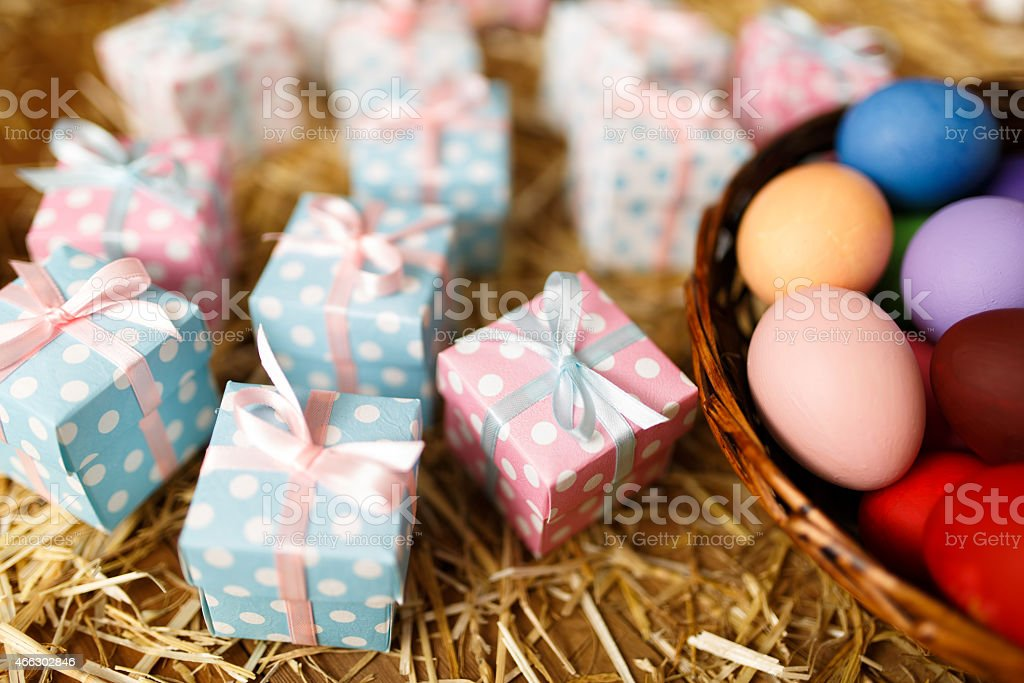 Easter theme - Eggs and gift box stock photo