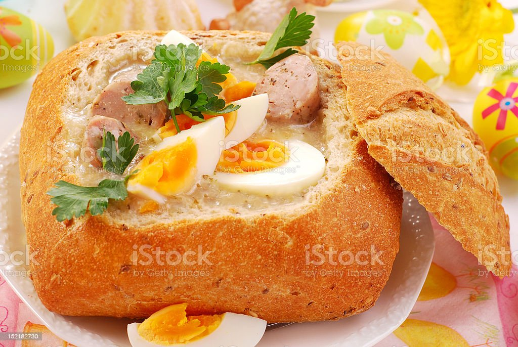 easter white borscht in bread bowl royalty-free stock photo