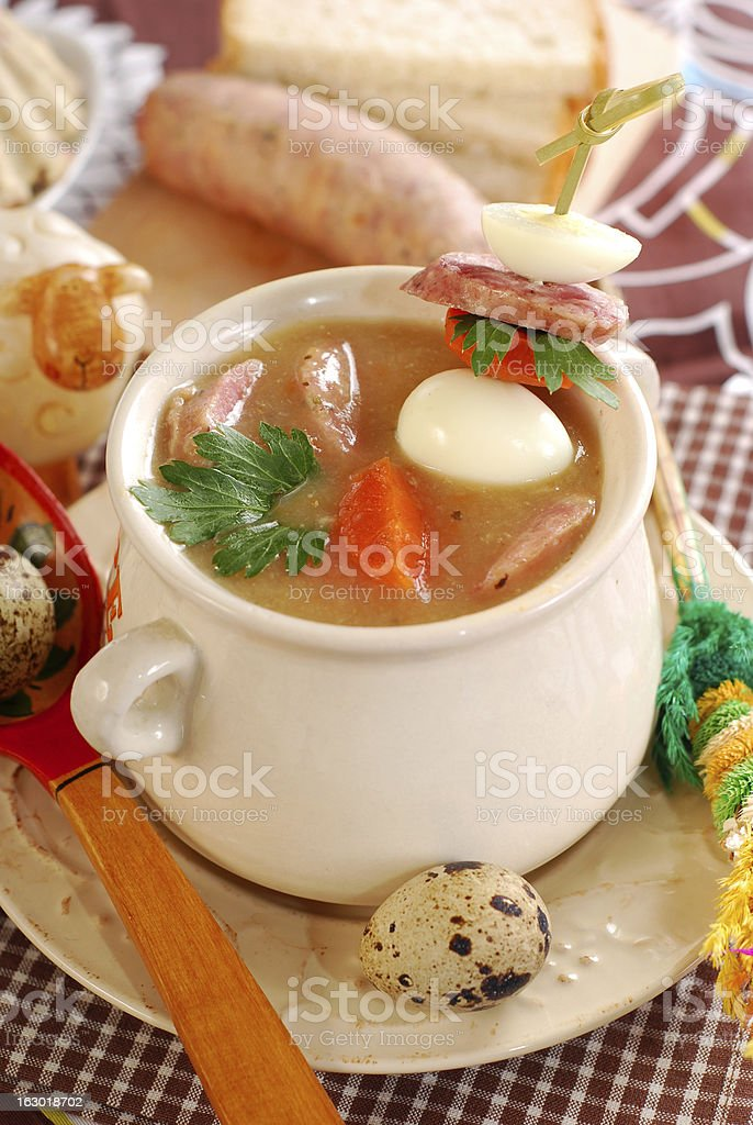 easter white borscht with quail eggs and sausage royalty-free stock photo