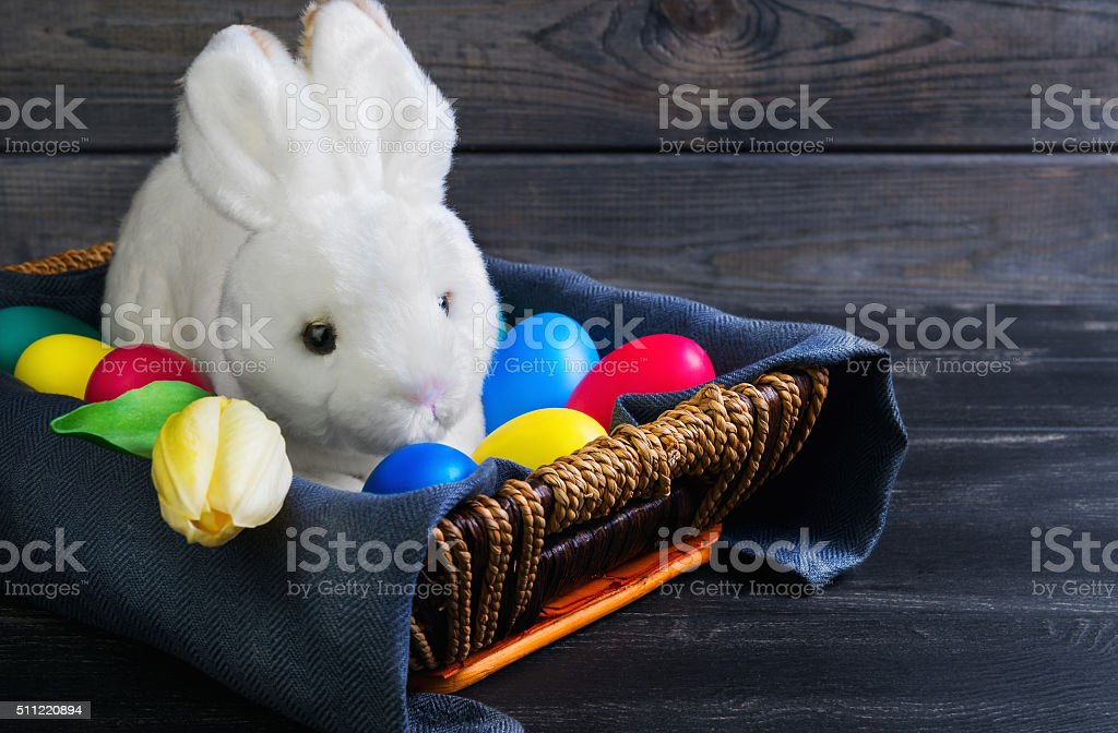 Easter white rabbit stock photo