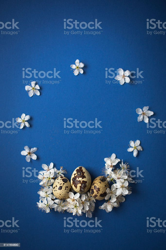 Easter Wreath on blue background stock photo