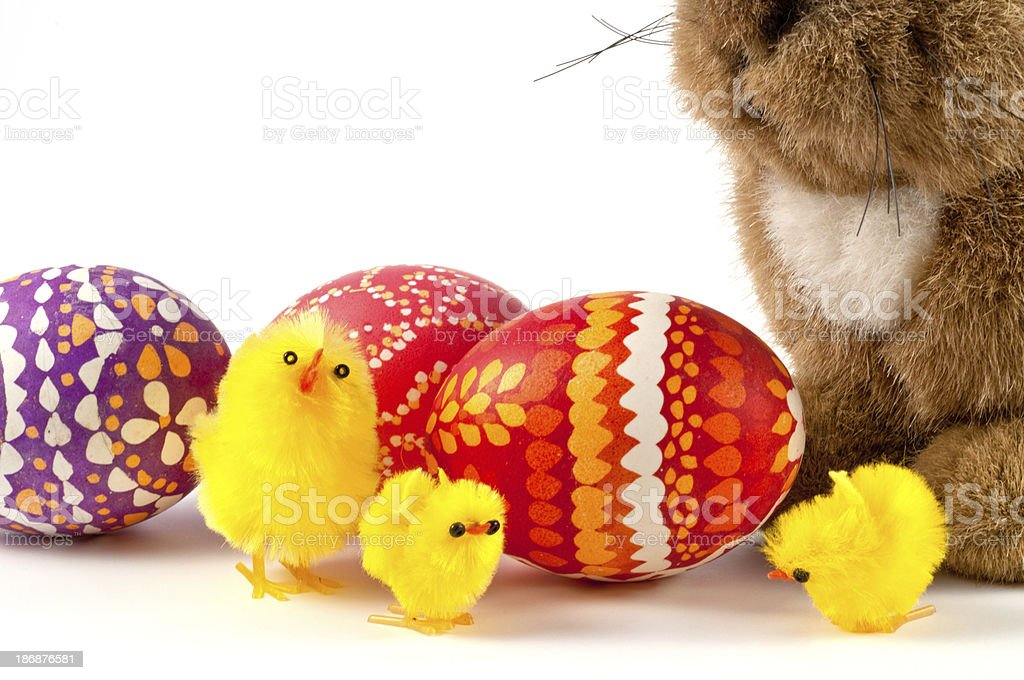 Easterbunny and chicks with easter eggs stock photo