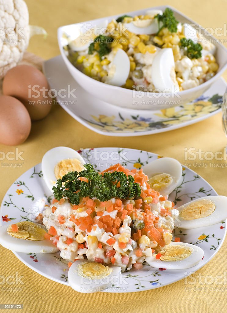 Easter-eggs salad with maize royalty-free stock photo