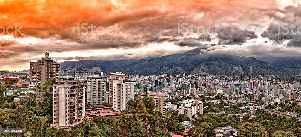 Eastern Caracas city aerial view at late afternoon stock photo