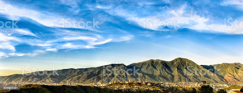 Eastern Caracas city aerial view at late afternoon. Venezuela stock photo