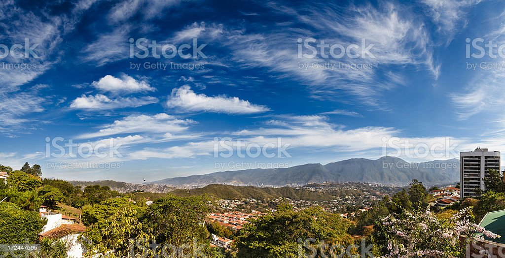 Eastern Caracas cloudscape panoramic city view at early morning stock photo