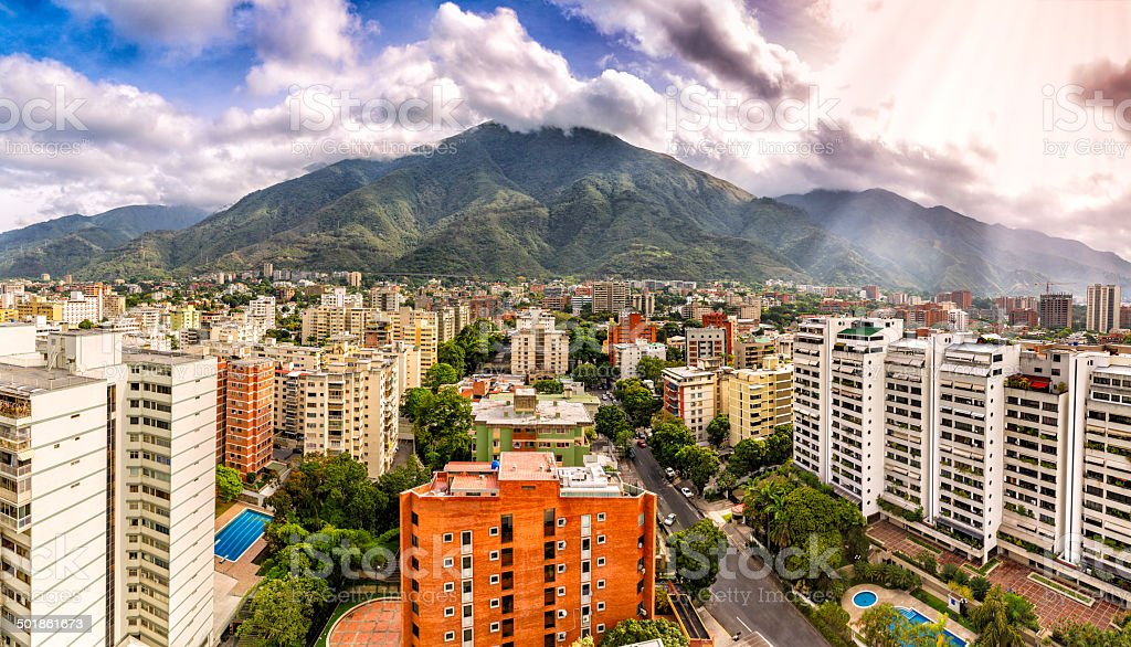 Eastern Caracas cloudscape panoramic city view at mid afternoon stock photo