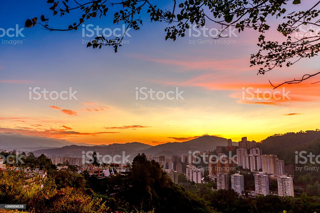 Eastern Caracas cloudscape panoramic city view at sunrise stock photo