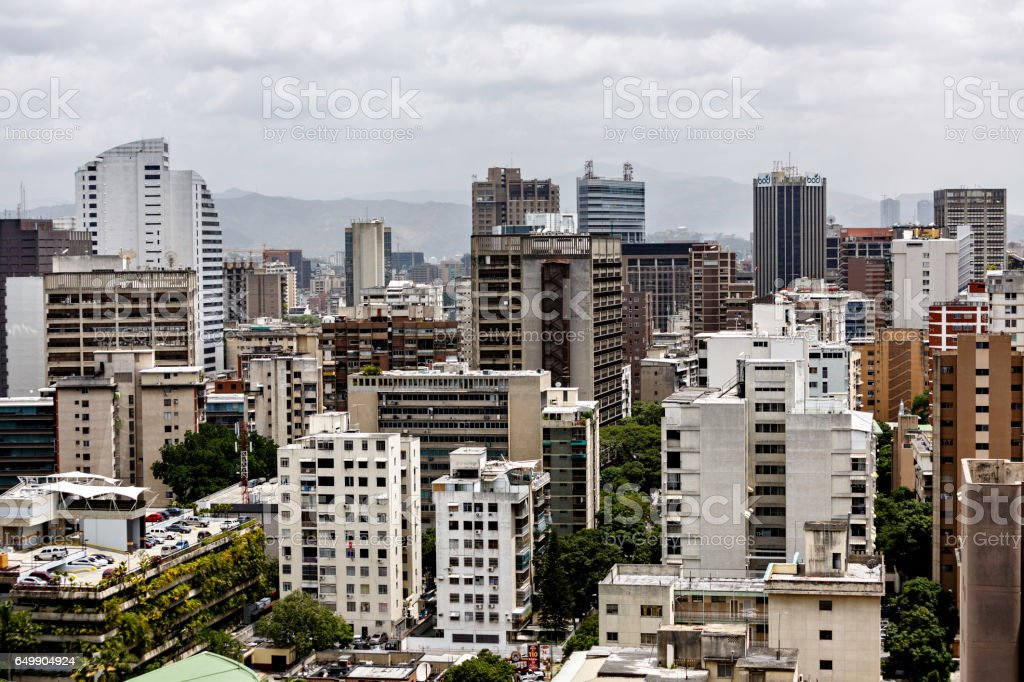 Eastern Caracas panoramic city view at Chacao Municipality. stock photo