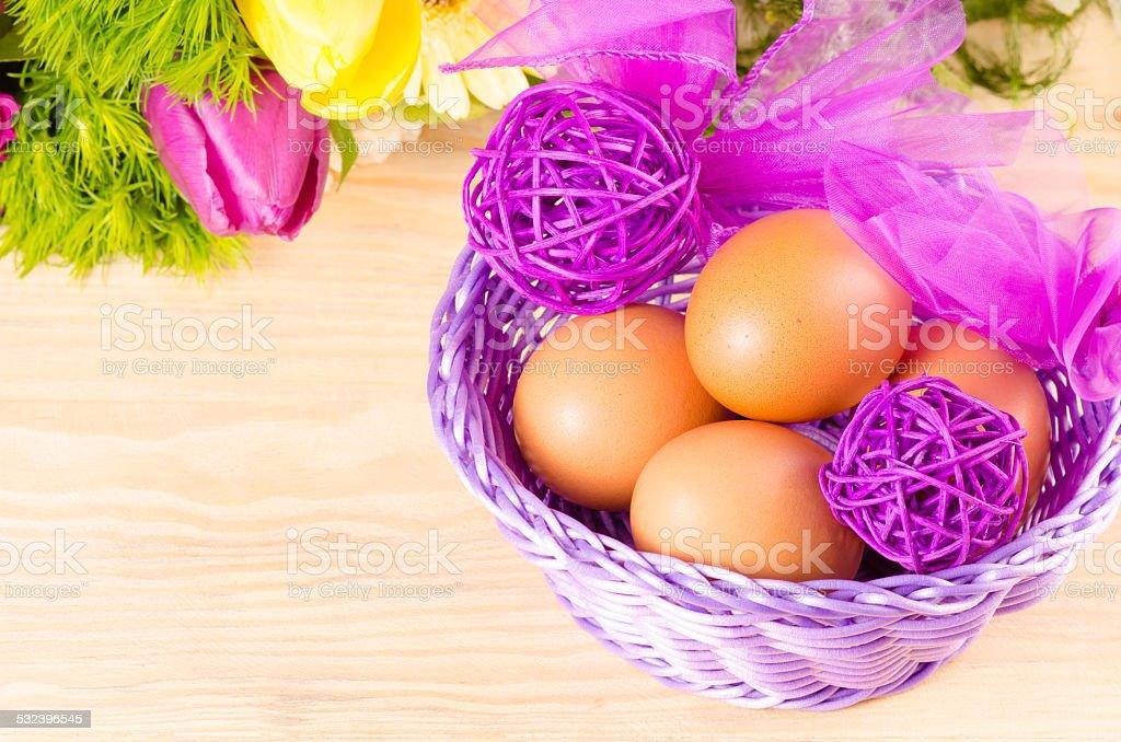 Eastern huevos y ramo de resorte foto de stock libre de derechos