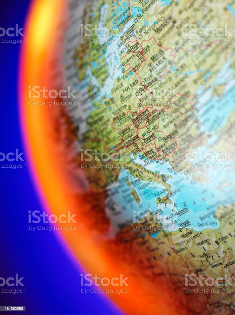 Eastern Europe and Libya on a Globe royalty-free stock photo