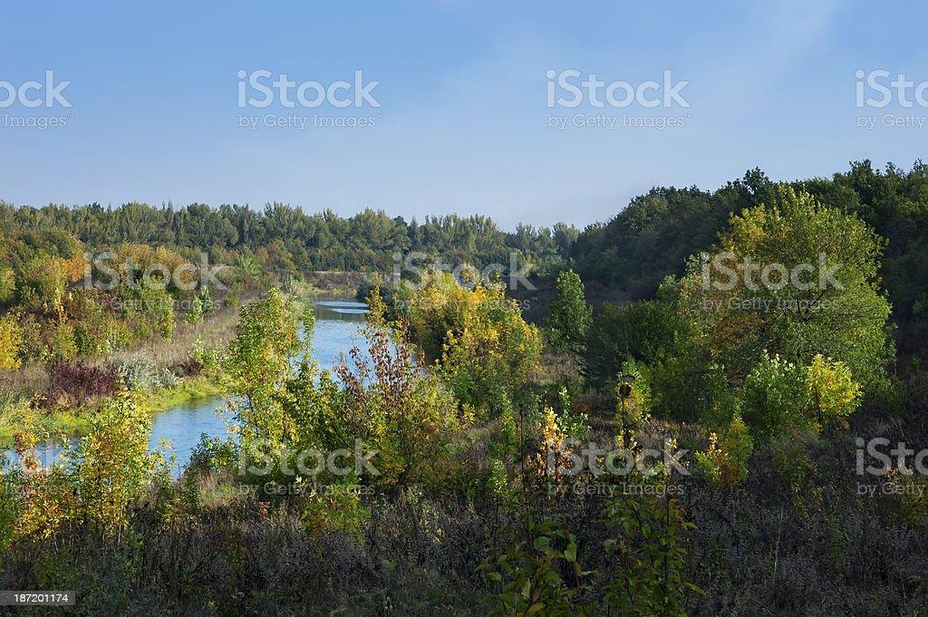 eastern europe autumn landscape, sunny morning royalty-free stock photo
