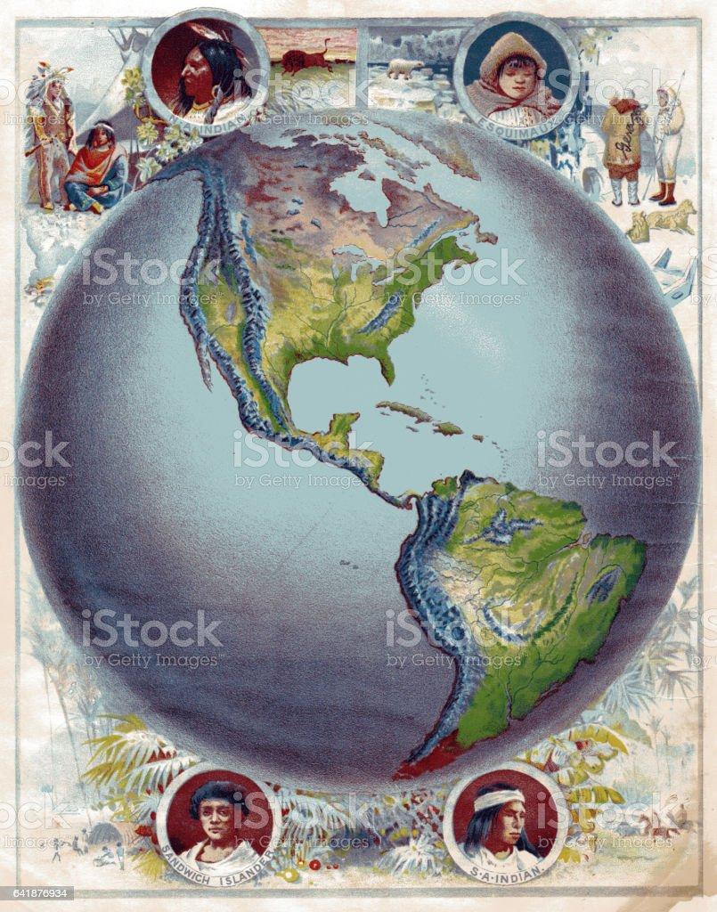 Eastern hemisphere map 1886 stock photo