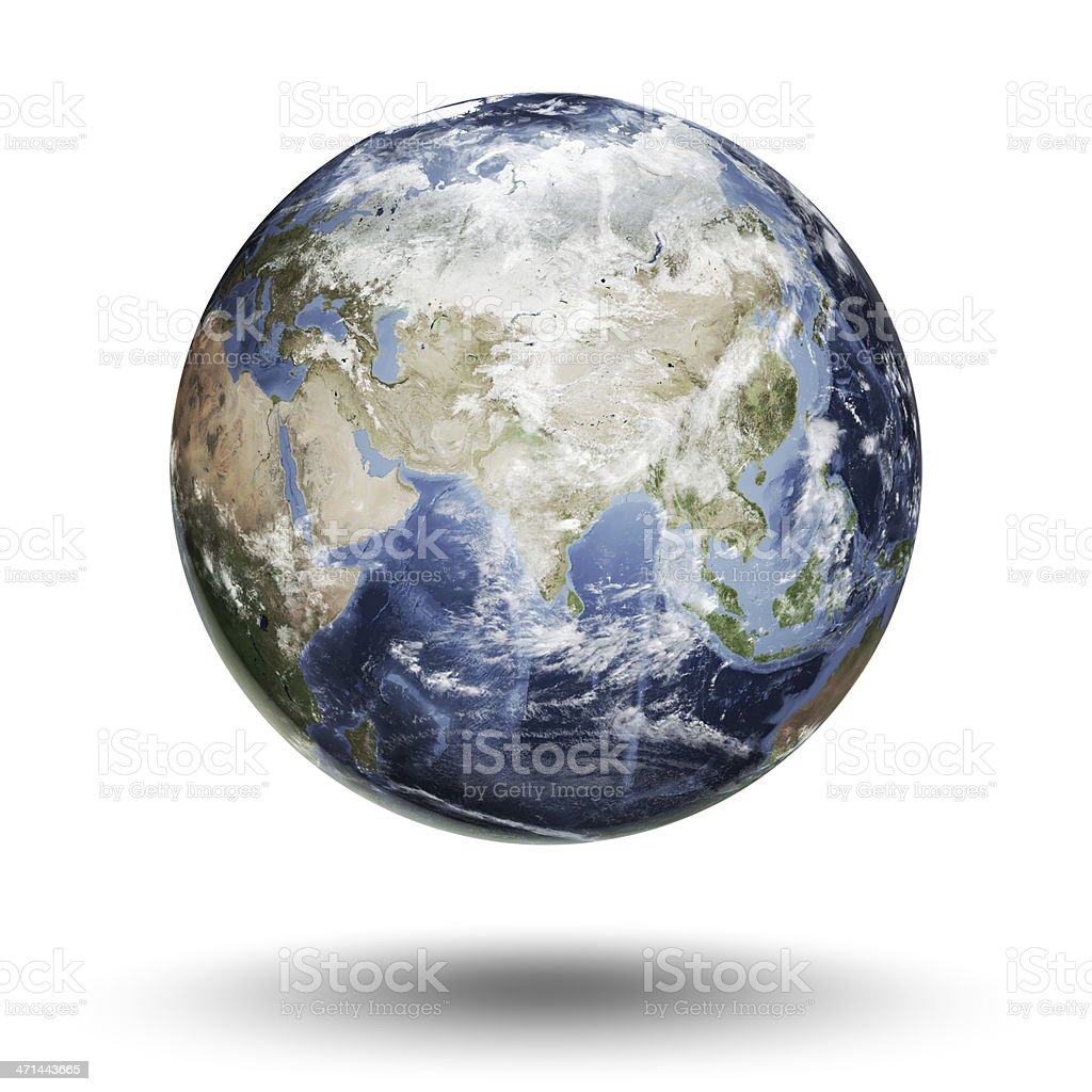 Eastern Hemisphere of the Earth isolated on a white backdrop stock photo
