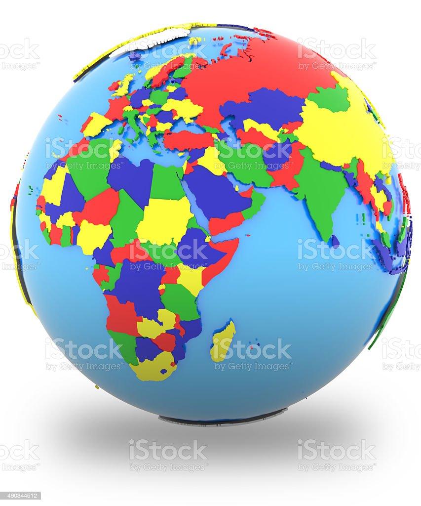 Eastern Hemisphere on the globe stock photo