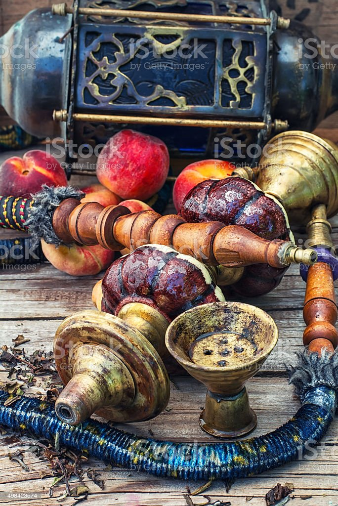 Eastern hookah with fruit stock photo