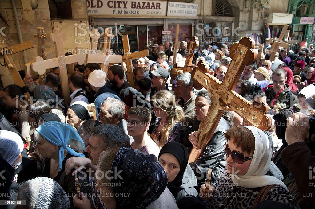 Eastern Orthodox Christians mark Good Friday in Jerusalem stock photo