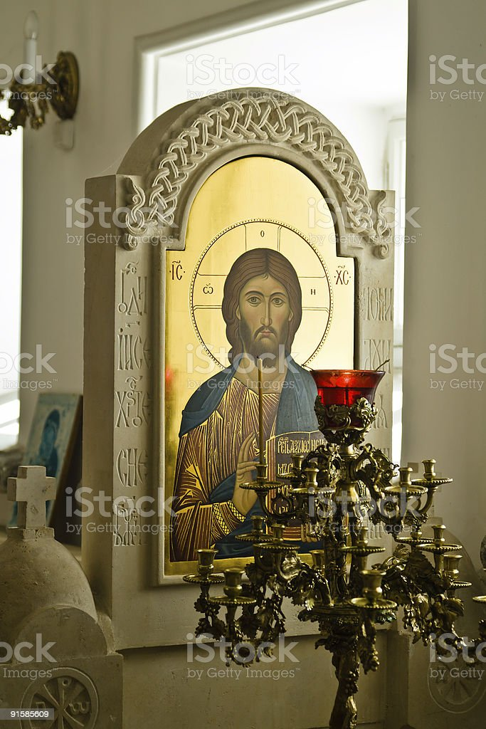 Eastern Orthodox Saviour icon with an icon-lamp royalty-free stock photo
