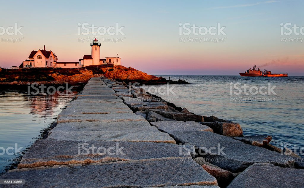 Eastern Point Lighthouse on the east side of the Gloucester Harbor stock photo