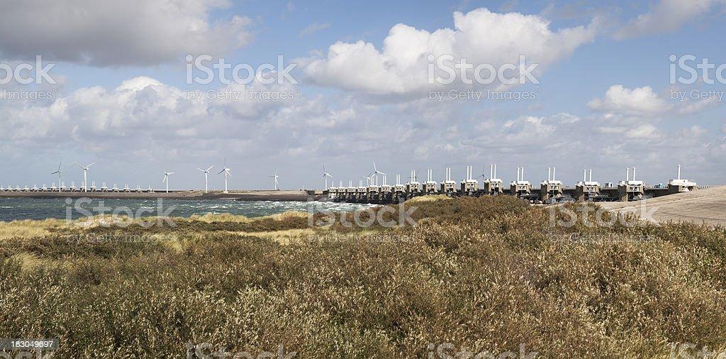 Eastern Scheldt Barrier panorama stock photo